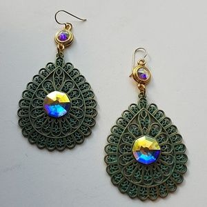 GYPSY MEDALLION patina drop OPAL earrings new